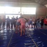 Sambo Sport y Combat en las instalaciones del auditorio de la escuela preparatoria oficial.