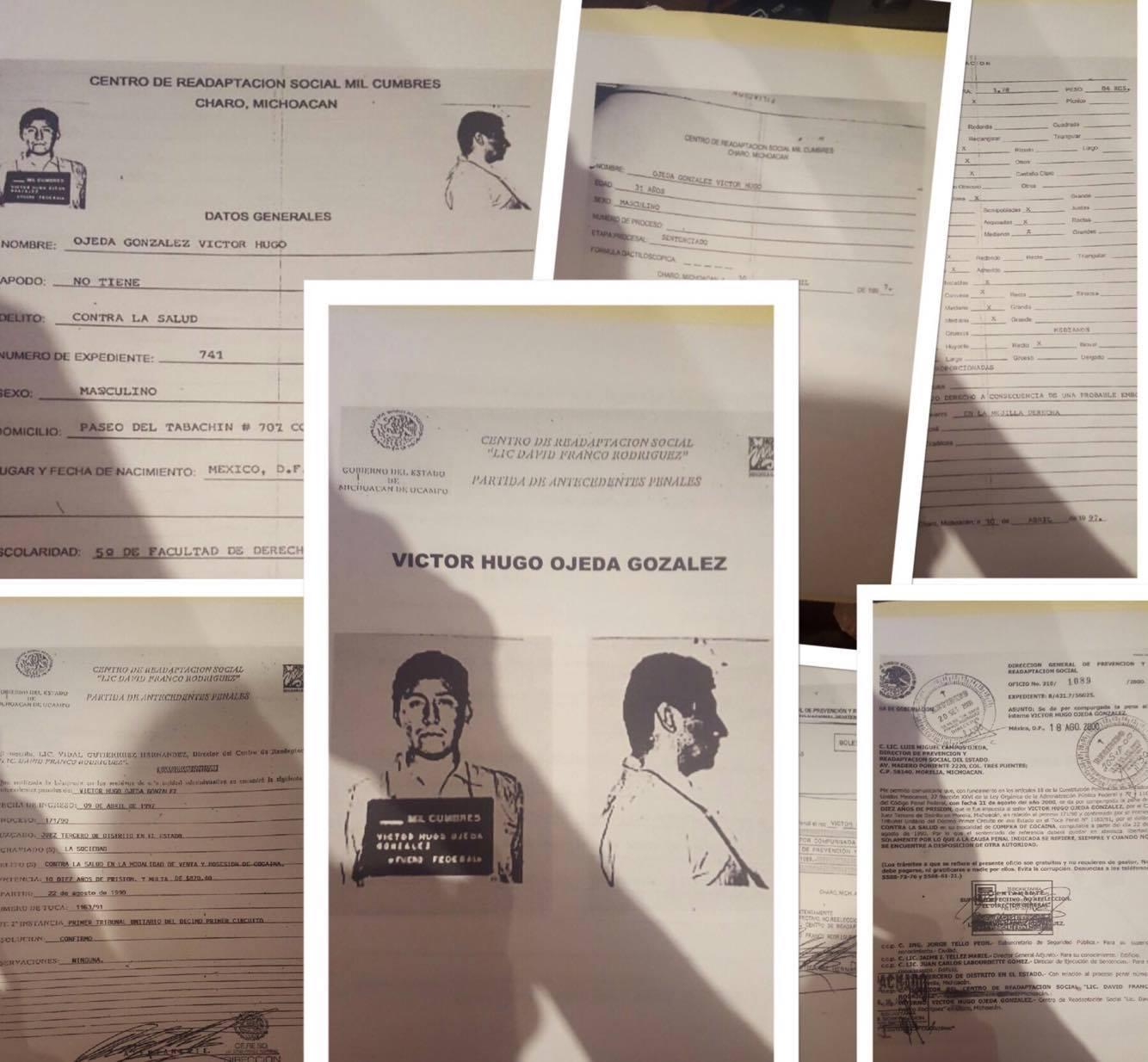 Mediante una filtración de copias de documentos presuntamente oficiales, señalan que Víctor Hugo Ojeda, el ex asesor del presidente municipal, José Herlindo Velázquez Fernández, purgó una pena privativa de la libertad por diez años en el vecino estado de Michoacán por venta y consumo de cocaína