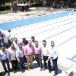 Autoridades supervisaron los trabajos de construcción de la alberca semi olímpica de la Unidad deportiva sur